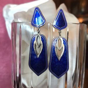 VINTAGE NUSI Earrings in Blue and Silver